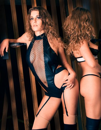 FAF Lingerie: 429. Faux Leather and Fence Net Body