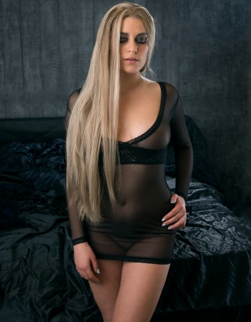 FAF Lingerie: 430. See Thru Stretch Mesh Long Sleeves Chemise Black