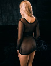 FAF Lingerie. See Thru Stretch Mesh Long Sleeves Chemise Black. FAF-430, Color: AS SHOWN