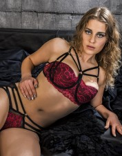 FAF Lingerie. Strappy Padded Red Lace Bra. FAF-421(32), Color: AS SHOWN