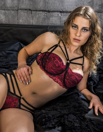 Strappy Padded Red Lace Bra