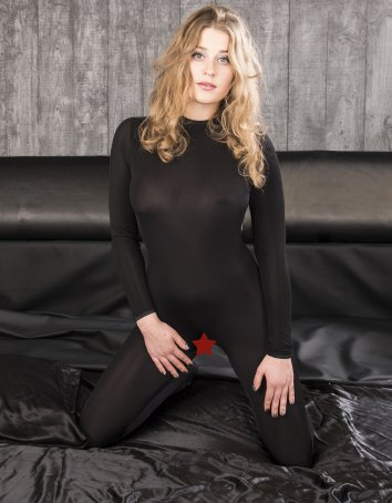 Crotchless Opaque Black Bodystocking Silky Look