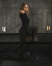 FAF Lingerie. Crotchless Opaque Black Bodystocking Silky Look. FAF-438, Color: AS SHOWN
