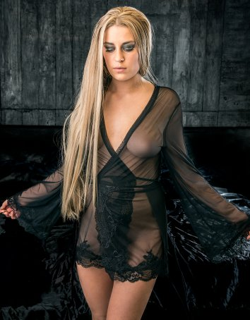 FAF Lingerie: 425. Sexy See Through Stretch Mesh Robe Black