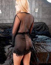 FAF Lingerie. Sexy See Through Stretch Mesh Robe Black. FAF-425, Color: AS SHOWN