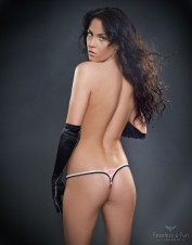 FAF Lingerie. Lace Up Two Tone Thong Panties. TL-005-BLP, Color: AS SHOWN