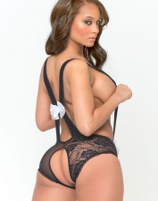 FAF Lingerie. Crotchless Teddy with Huge Bows. FAF-H154, Color: AS SHOWN