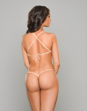 FAF Lingerie. Beautiful Sheer Tawny Lace Up Set. TL-H0011, Color: AS SHOWN