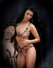 FAF Lingerie. Nude Tulle Embroidered Body CHASTITY. TL-D051, Color: AS SHOWN