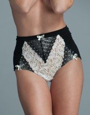 FAF Lingerie. High Waisted Panties with Modal Jersey and Lace. FAF-H716(2X), Color: AS SHOWN