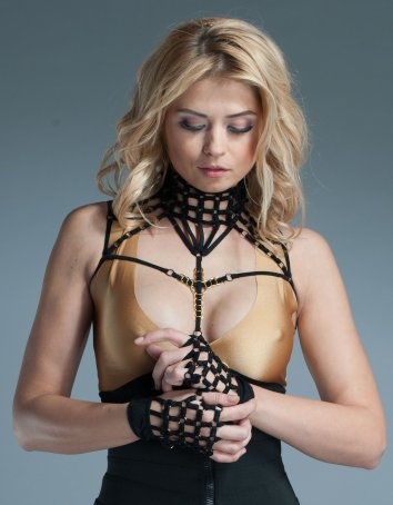 Strappy Lingerie Fingerless Gloves