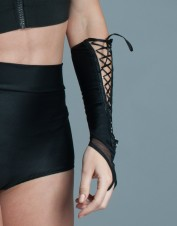 FAF Lingerie. Lace Up Elbow Fingerless Gloves. FAF-D310, Color: AS SHOWN