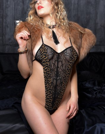 FAF Lingerie: D336. Animal Instinct Leopard Teddy