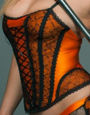 FAF Lingerie. Orange & Black Corset Bustier. FAF-H255(2X), Color: AS SHOWN