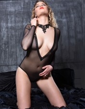 FAF Lingerie. Set the Mood Deep V Neck Long Sleeves Teddy. FAF-360, Color: AS SHOWN