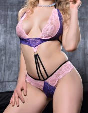 FAF Lingerie. Super Girly Purple/Pink Lace Teddy. FAF-365, Color: AS SHOWN