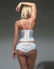 FAF Lingerie. White Bridal Corset With Zipper. FAF-H261(2X), Color: AS SHOWN