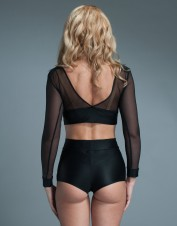FAF Lingerie. See Thru Aplique Long Sleeves Crop Top Black. FAF-D305(2X), Color: AS SHOWN